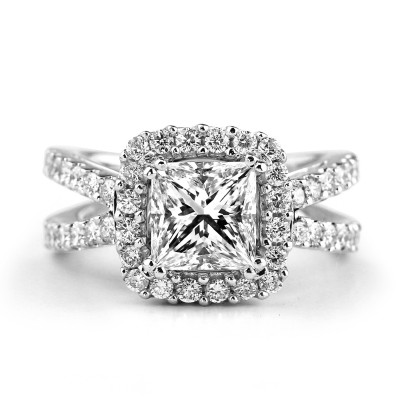 14k W/g princess-cut diamond halo Engagement ring Split Shank