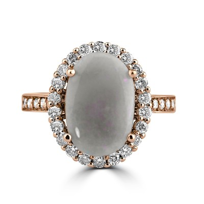 14K R/G Oval-Cut Opal and Diamond Cocktail Ring