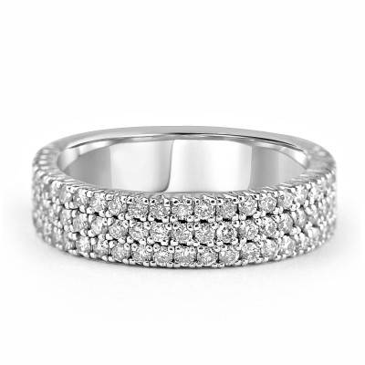 14K W/G Triple Stack Pave Diamond Band