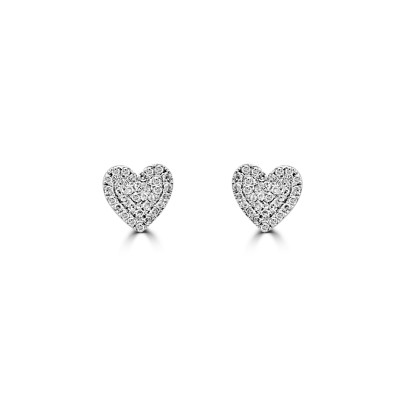 14k w/g diamond pave heart earrings