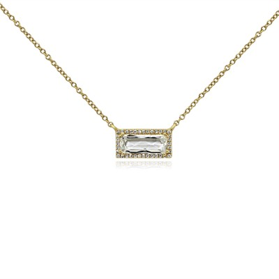 14k y/g rectangular quartz diamond halo pendant