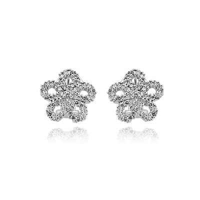 14k w/g diamond flower earrings