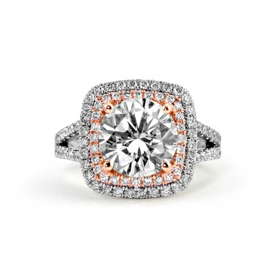 14k Two-Tone W/G & R/G Round-Cut Diamond Double Halo Engagement Ring