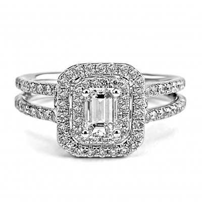 14k w/g emerald-cut diamond double halo engagement ring