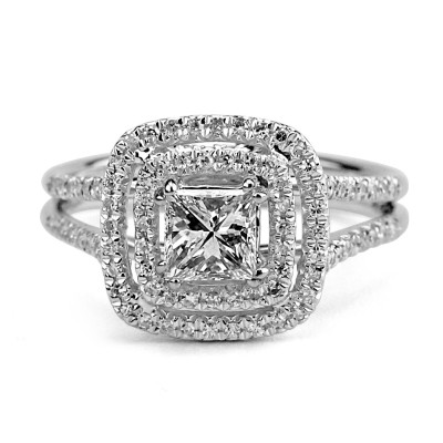 14k w/g princess-cut double halo engagement ring