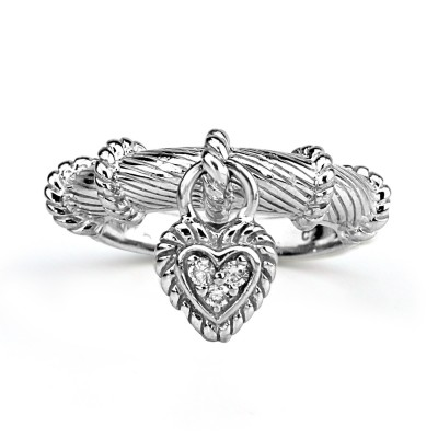 Sterling Silver Dangling Heart Rope Ring