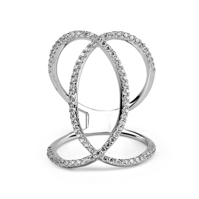 sterling silver w/g plated crystal fashion ring