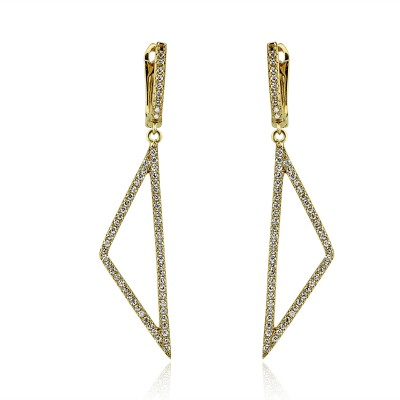 STERLING SILVER Y/G PLATED CRYSTAL EARRINGS