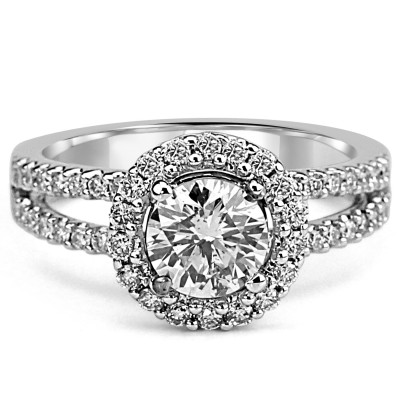 14k w/g round-cut diamond halo engagement ring split shank