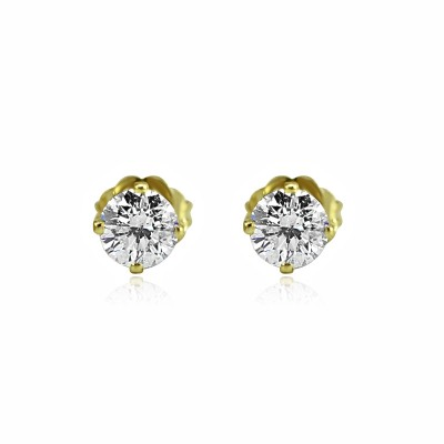 14K y/G ROUND BRILLIANT-CUT DIAMOND STUDS