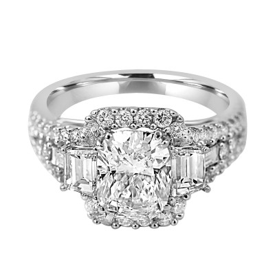 14K W/G Cushion-Cut Halo Engagement Ring With Side Baguette Diamonds