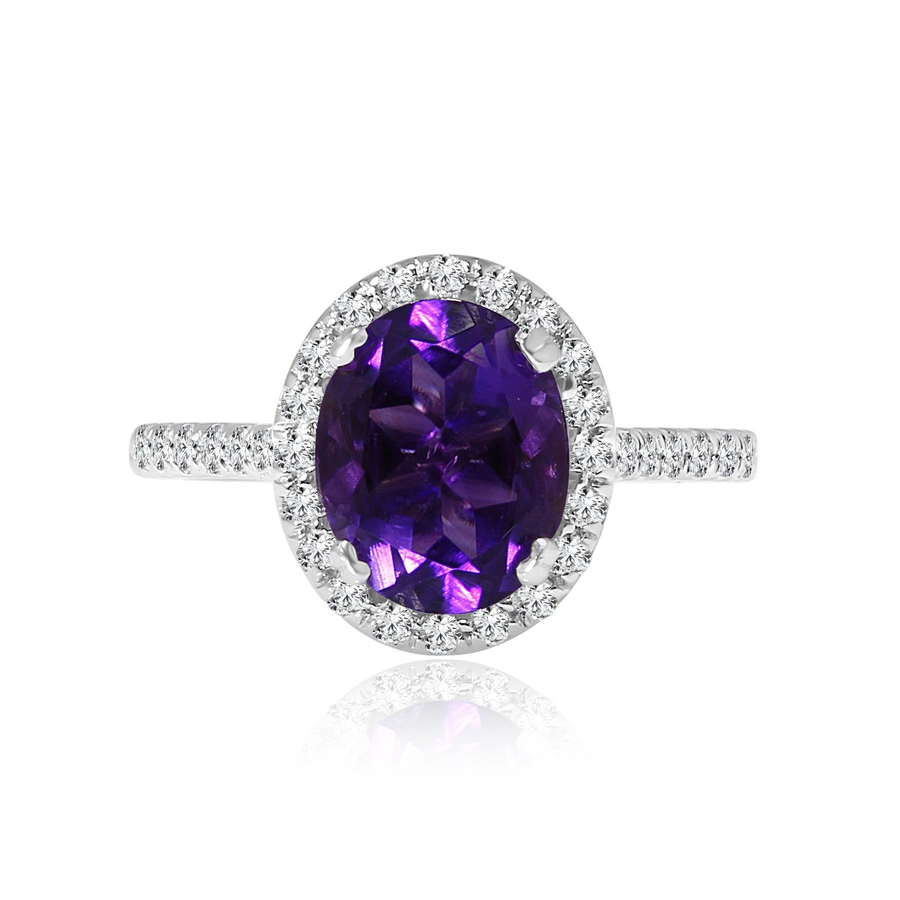 14k w/g diamond & amethyst ring 2.50ctw
