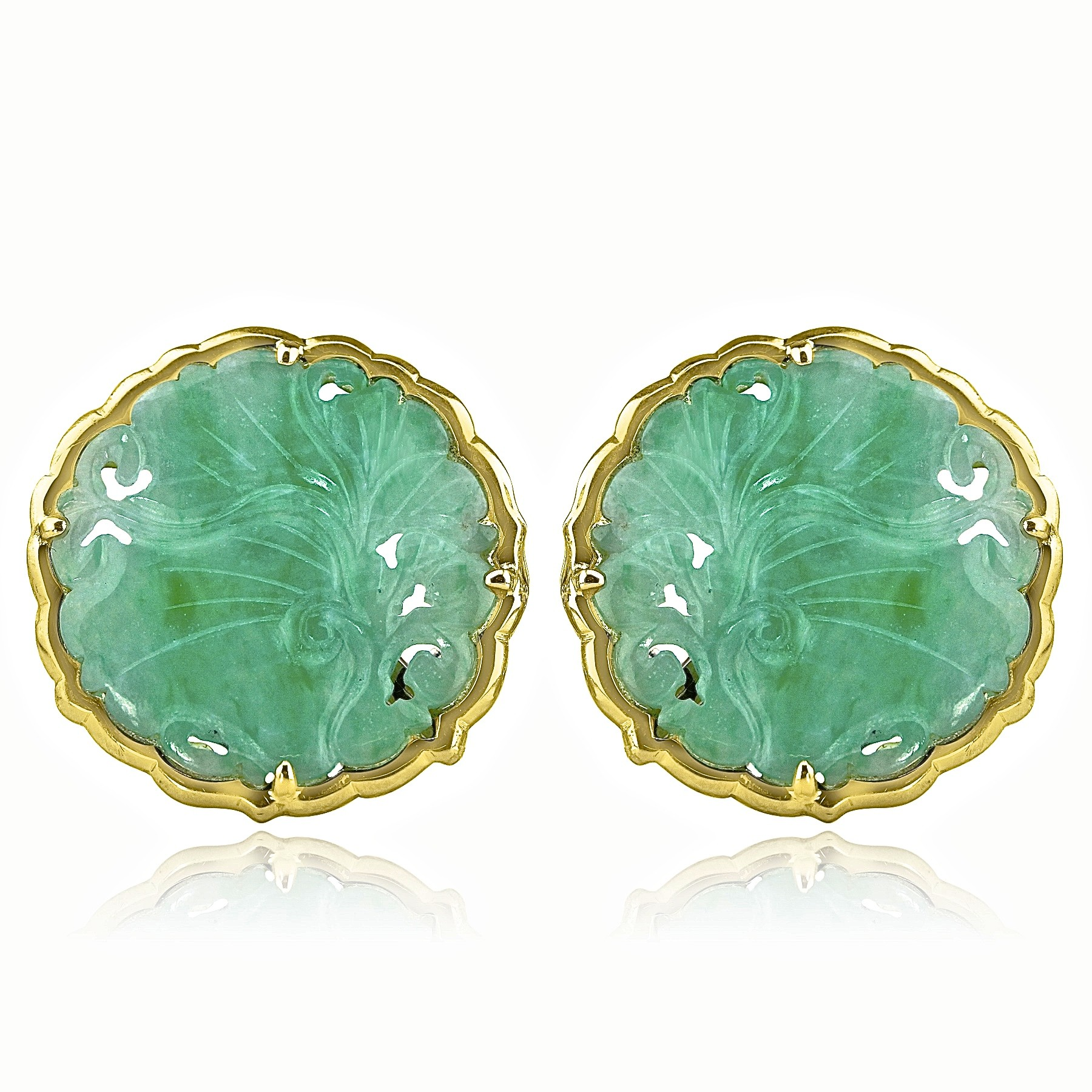 18K Y/G Vintage Jade Earrings
