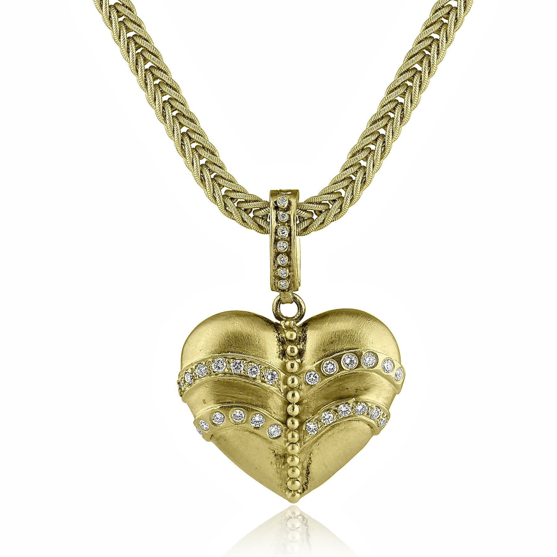 18K Y/G Full Heart Diamond Necklace