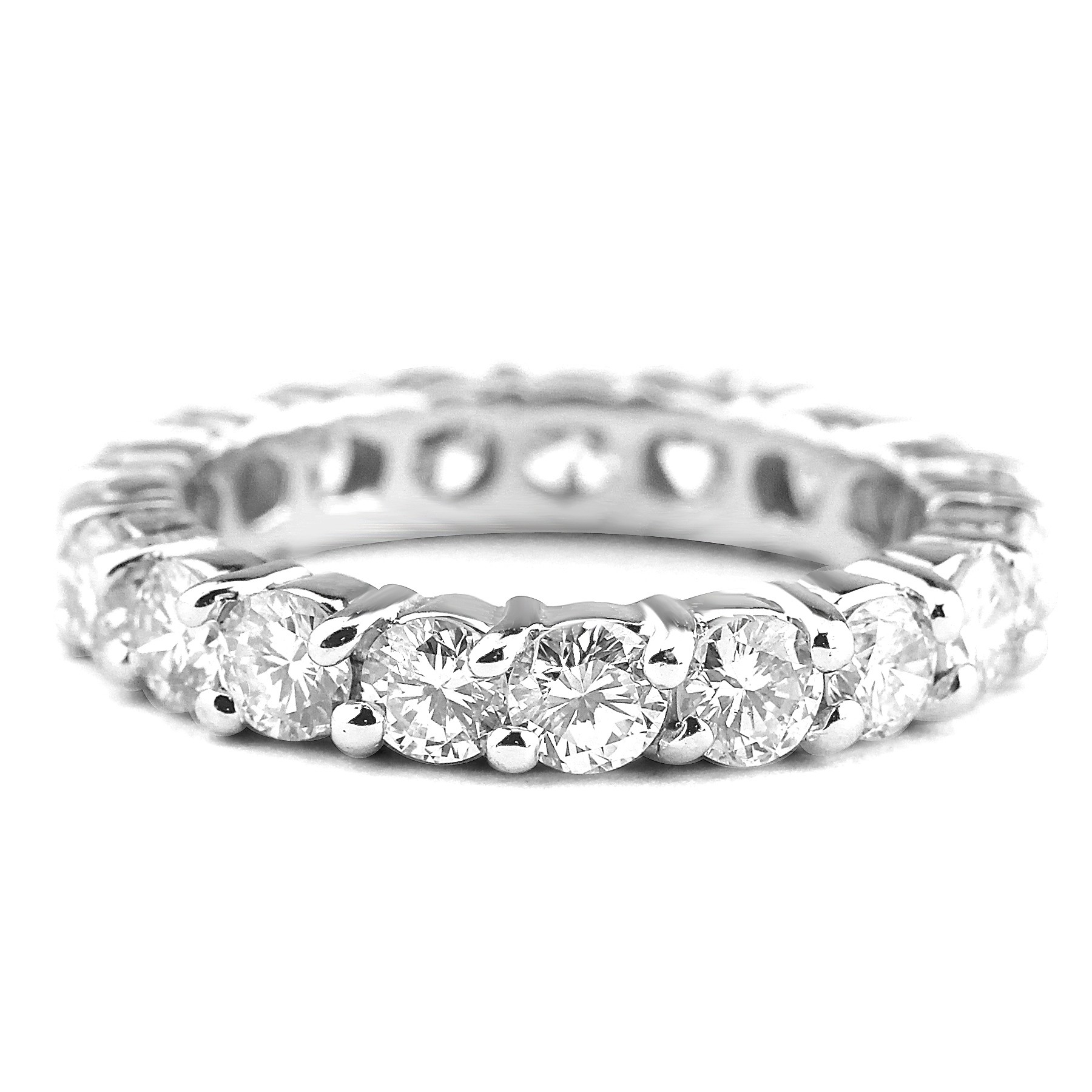 band prong diamond bands white eternity pave platinum shared in round gold ct wb