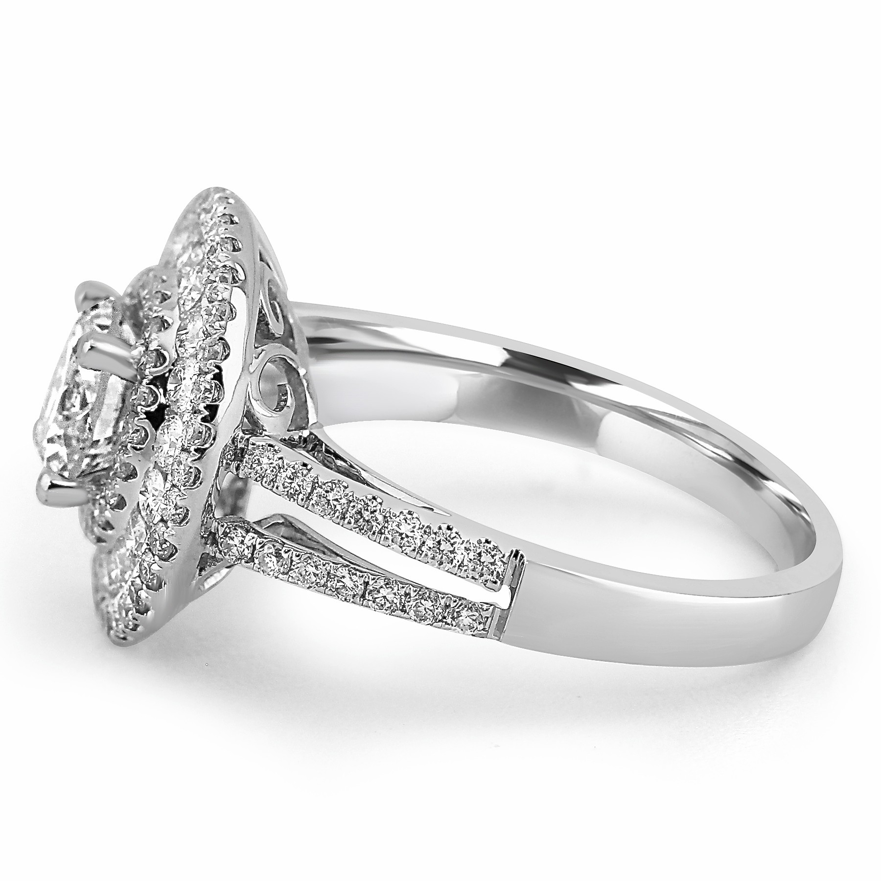 cut round shank engagement ring solitaire rings split diamond product