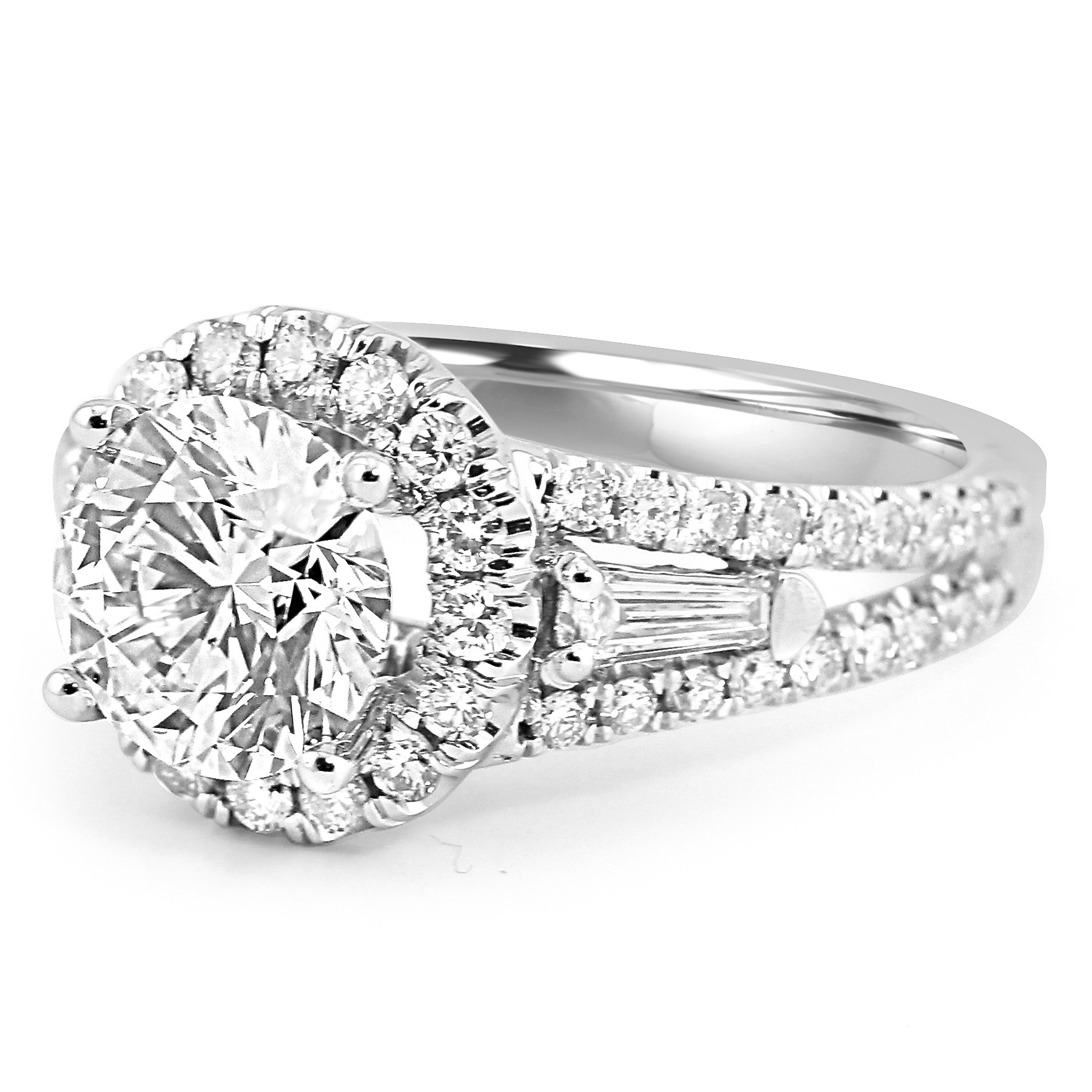 fine ring rings cushion diamond engagement galith three stone products baguettes collections jewelry baguette