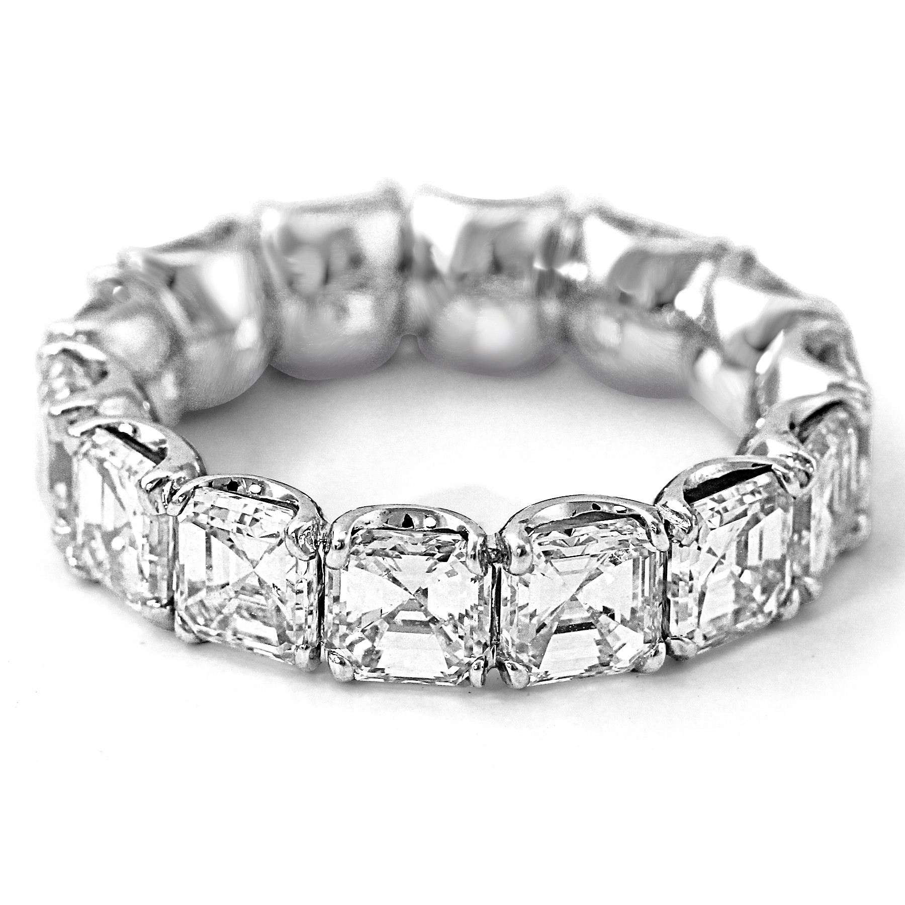 diamond asscher cut gem eternity platinum band