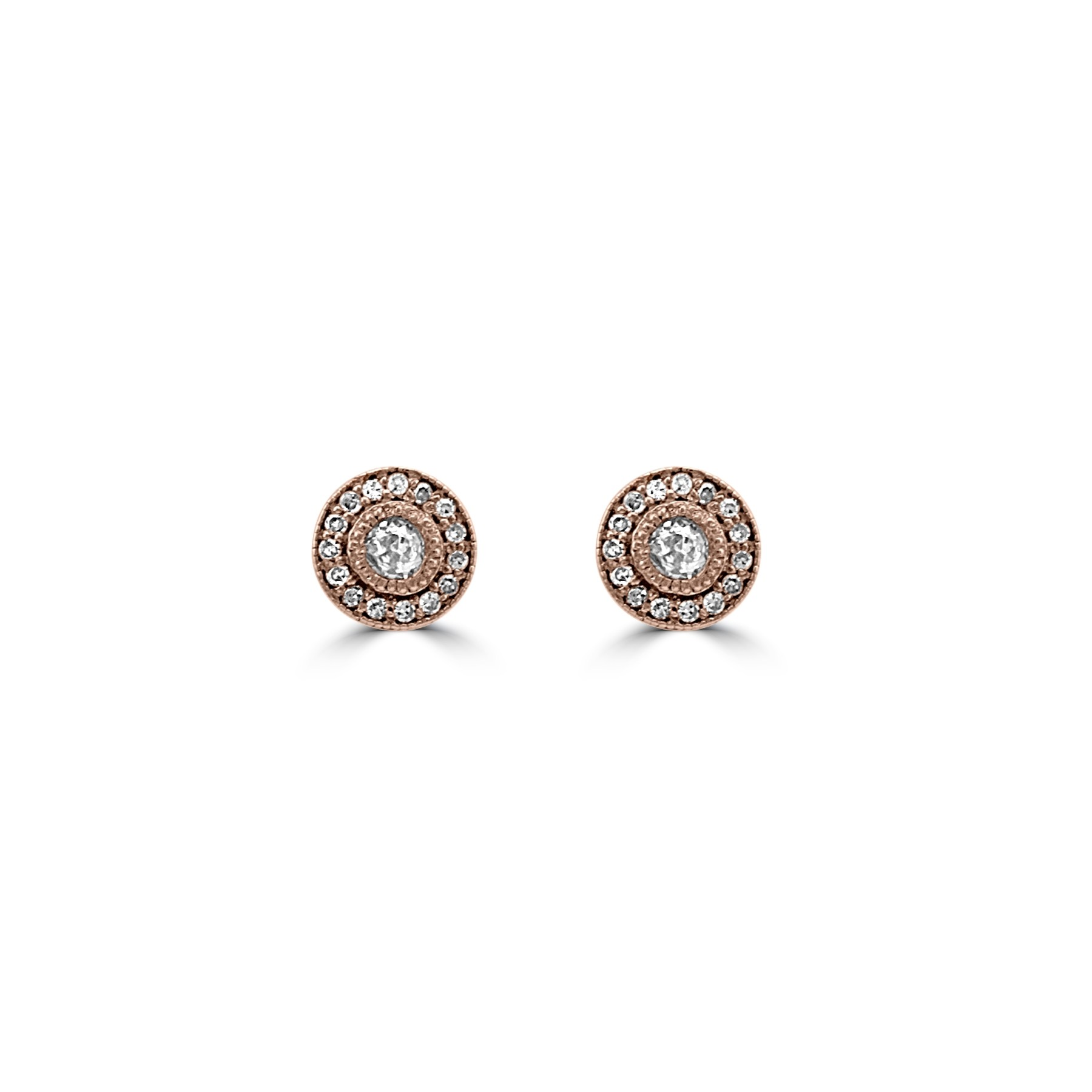 14k R/G Diamond Halo Stud Earrings