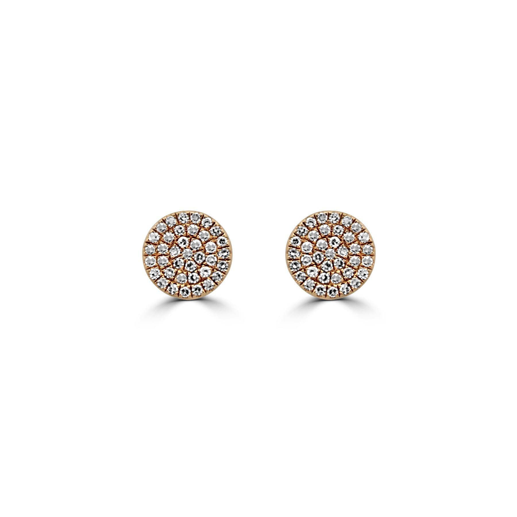 14k R/G Diamond Pave Disc Earrings