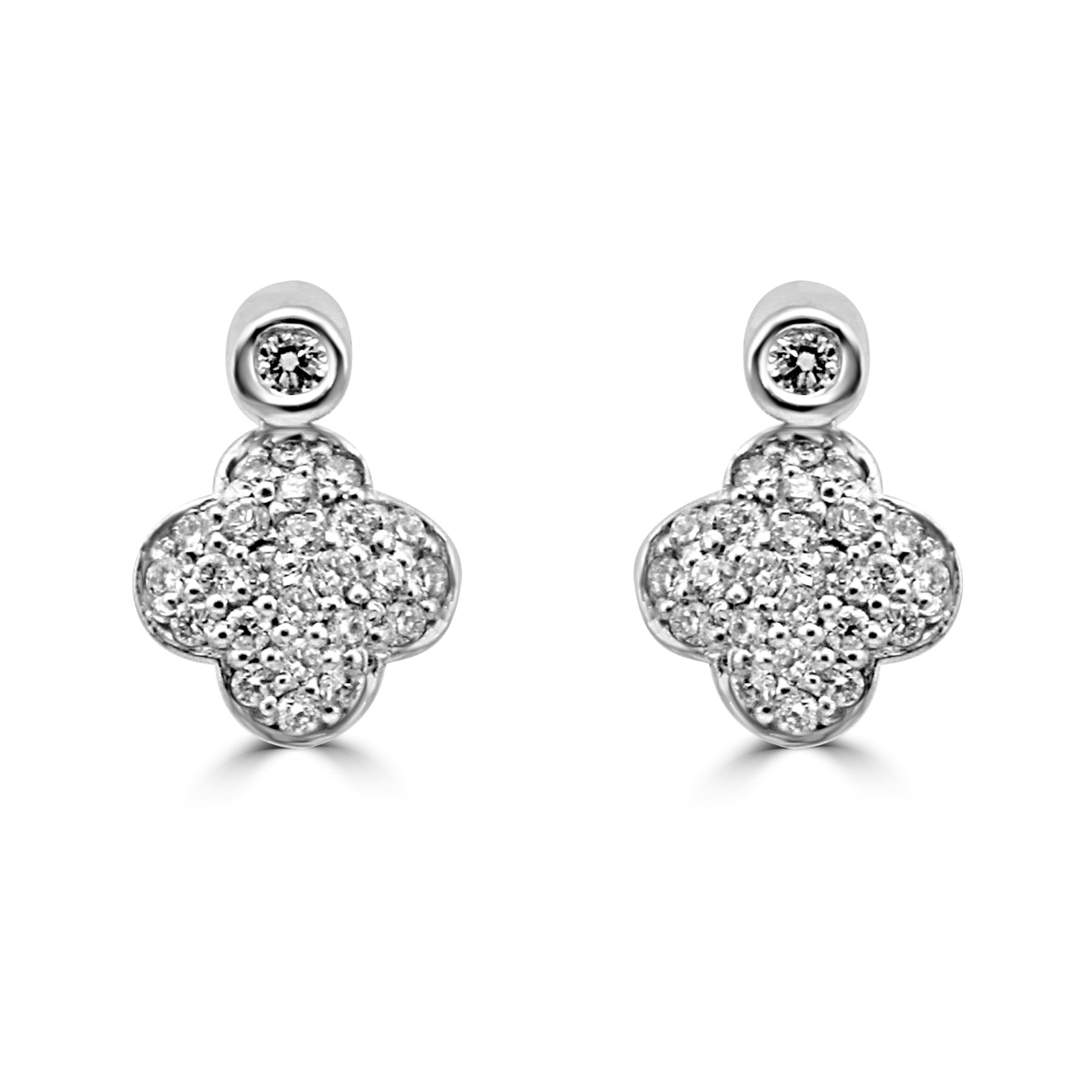 14k W/G Four Leaf Clover Diamond Earrings