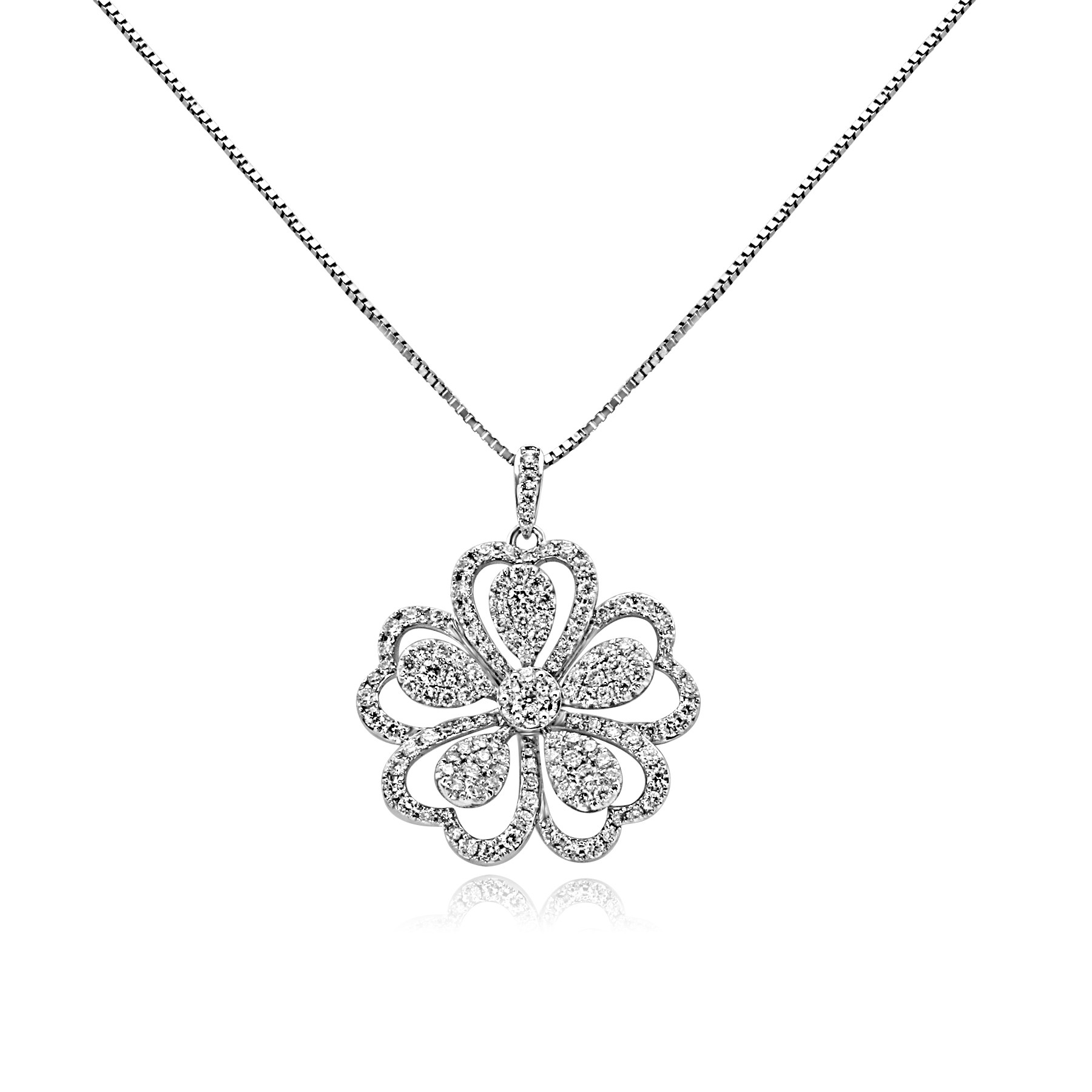 14k w/g diamond flower necklace