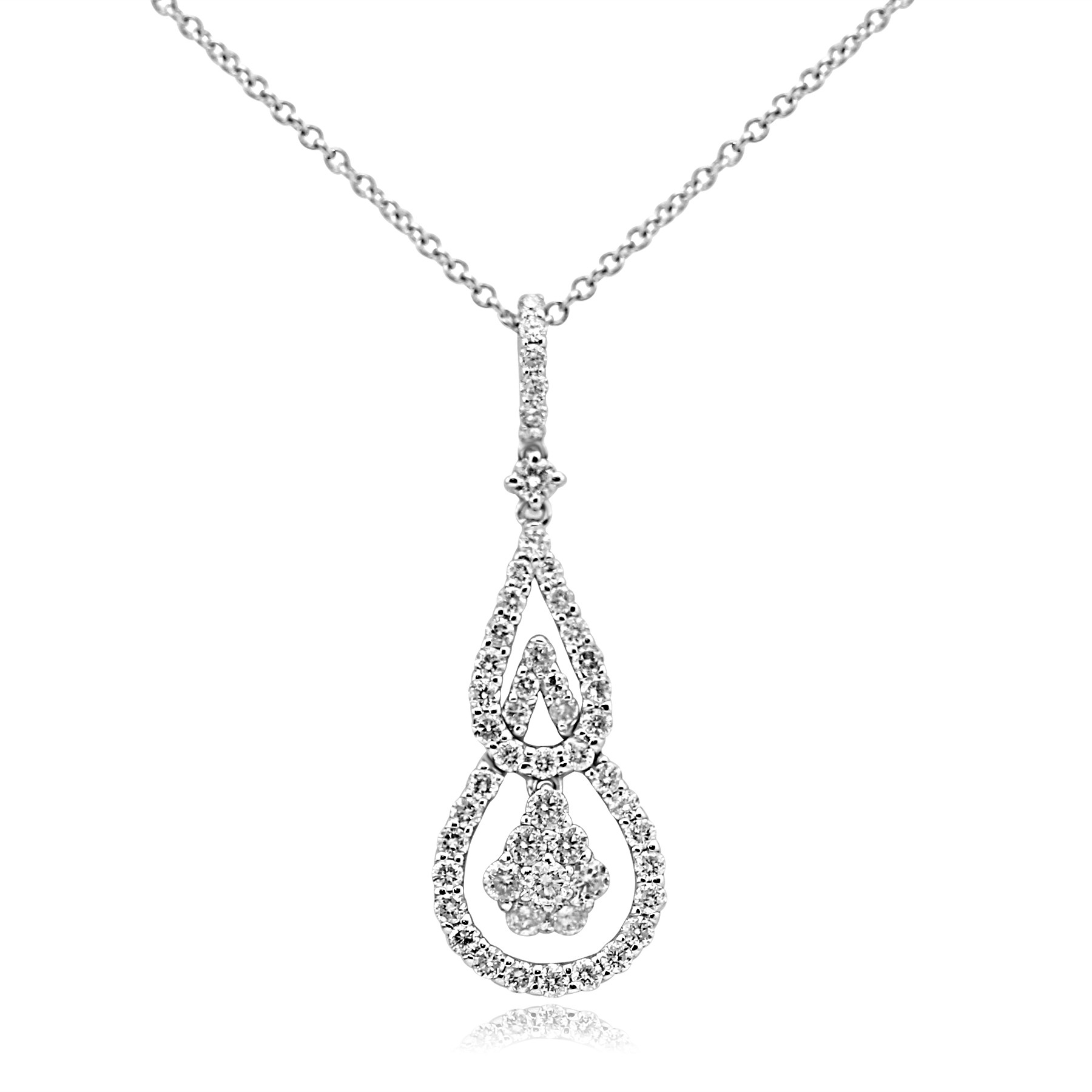 14k w/g double drop diamond necklace