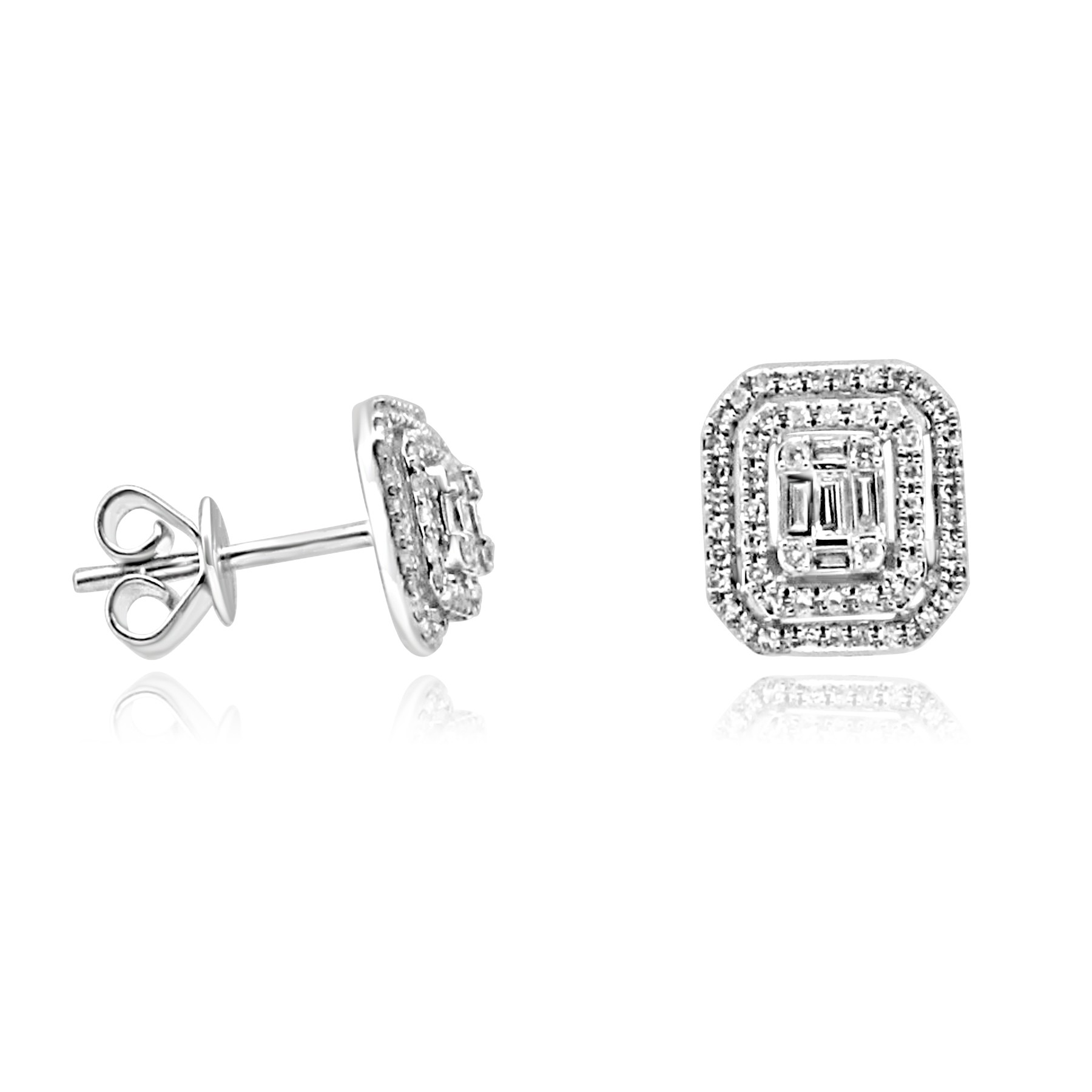collection doublestud earring baguette yellow chain double gold min ef yg diamondbaguette stud earrings diamond
