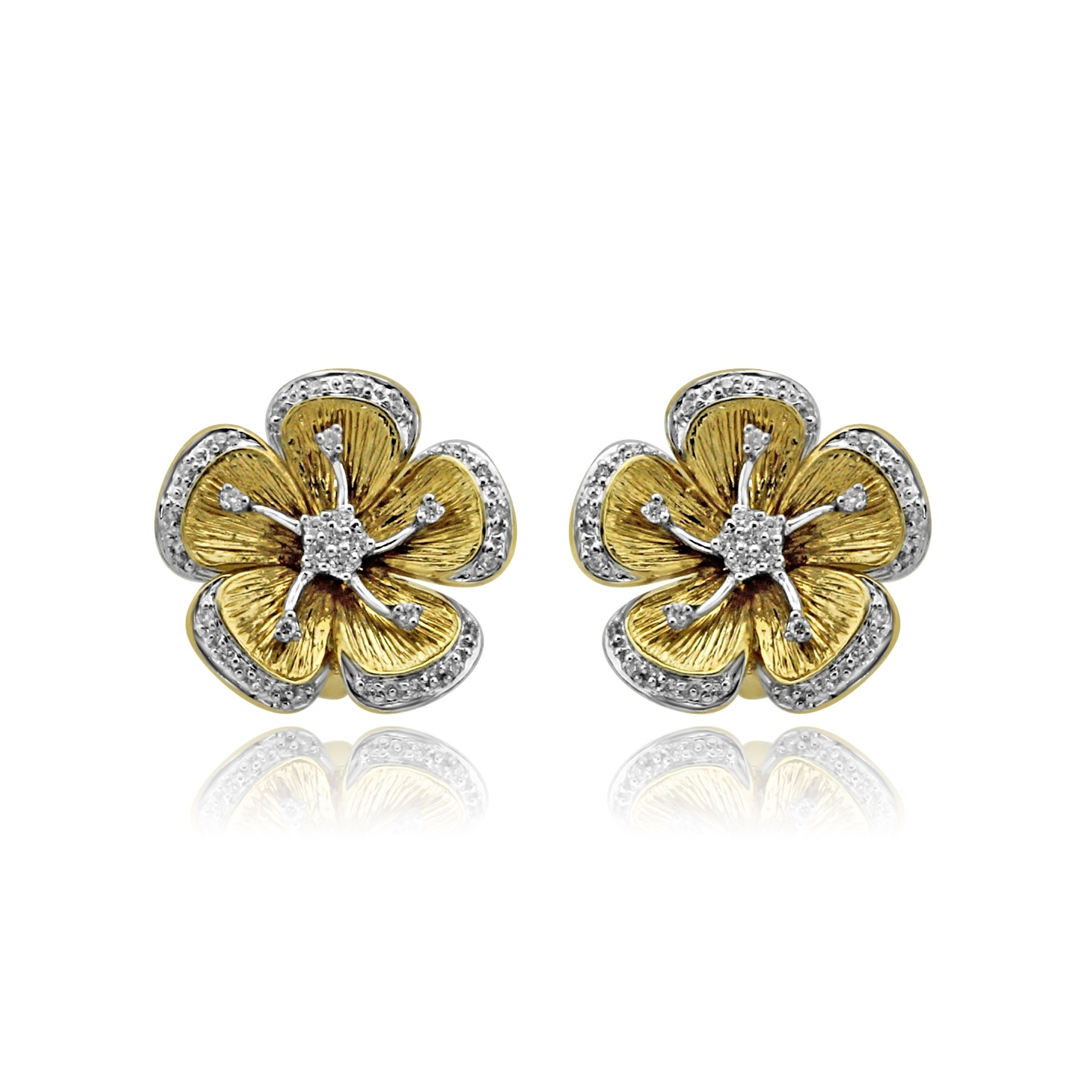 18k Y/G Flower Petal Diamond Earrings