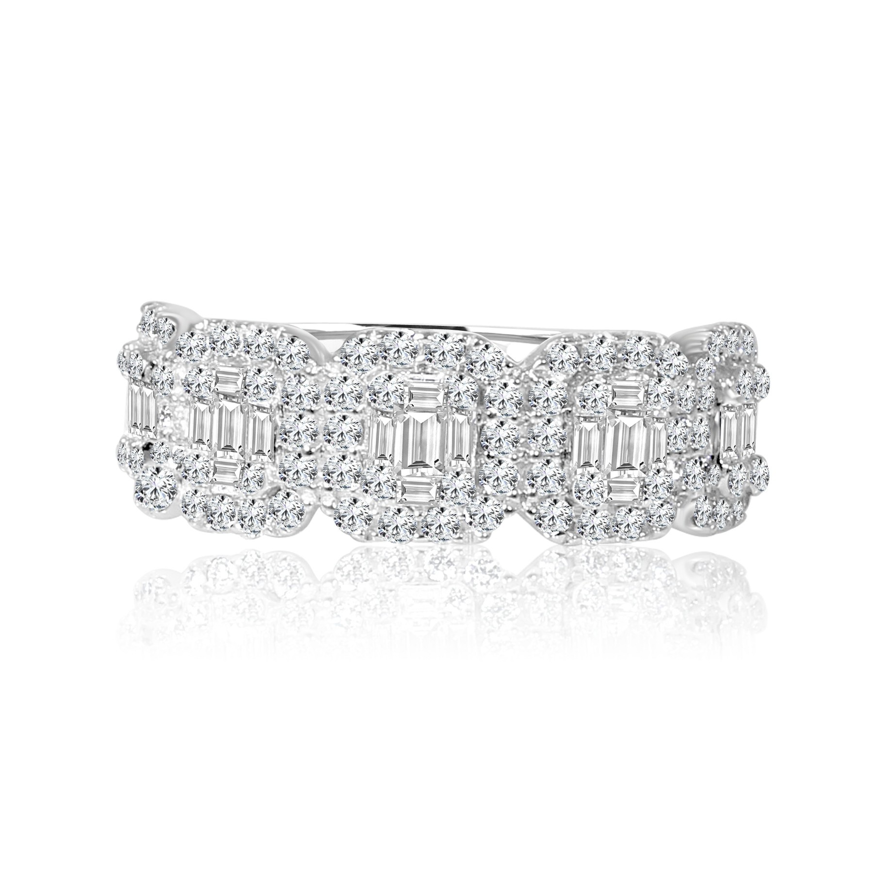 14k w/g round and baguette diamond illusion band