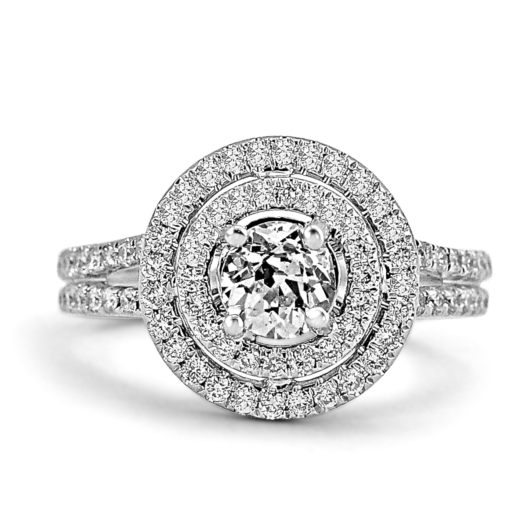 rings loading cut vintage tone diamond itm ring double cushion d engagement two is halo ct image