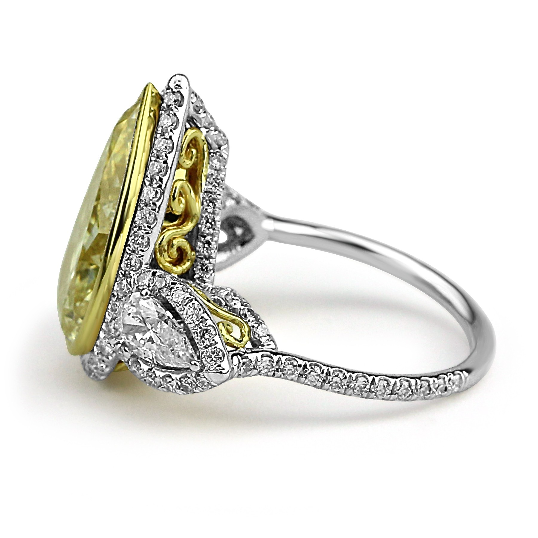 G Pearcut Fancy Yellow Diamond Engagement Ring