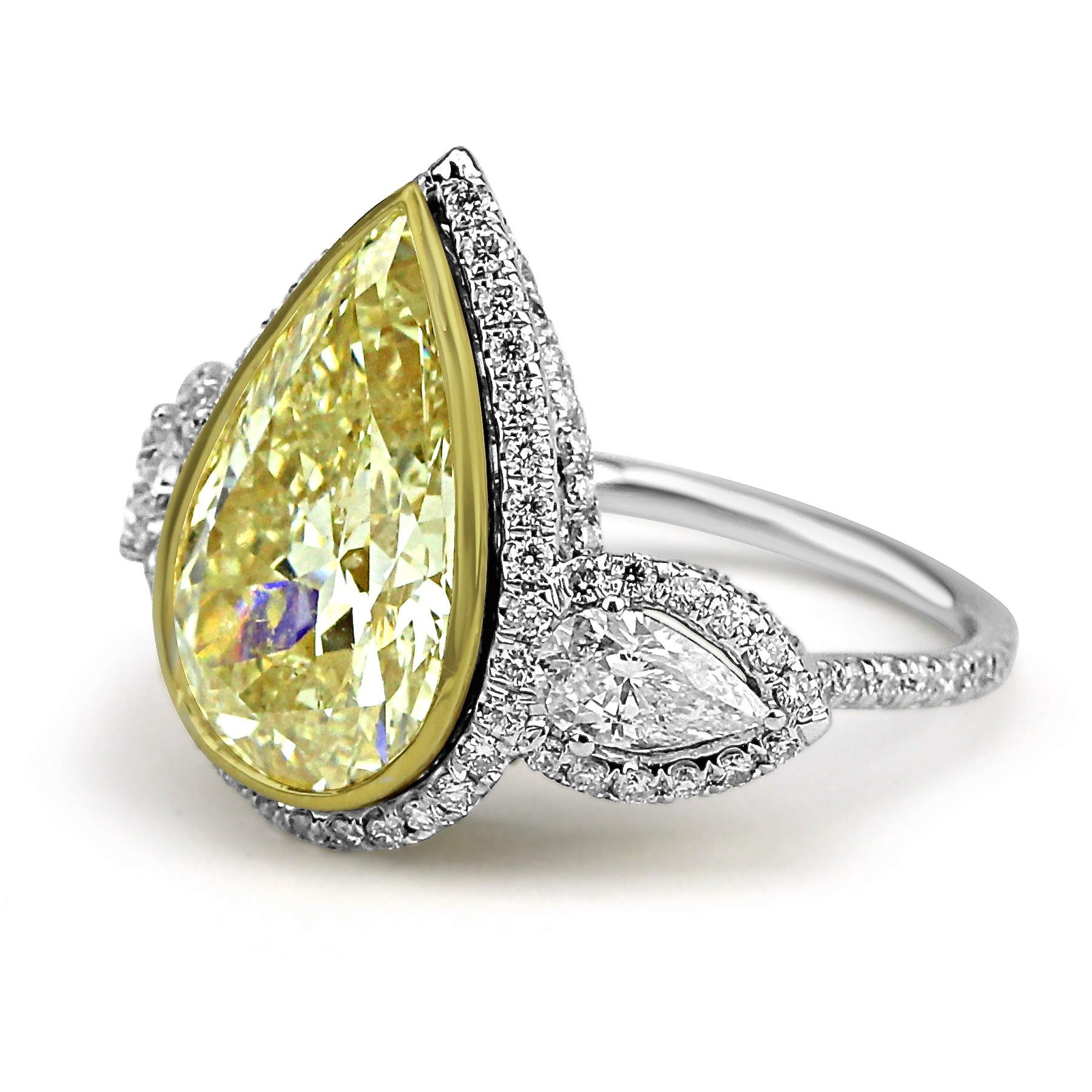 pear gold youtube engagement ring shape in diamond rings watch yellow ct