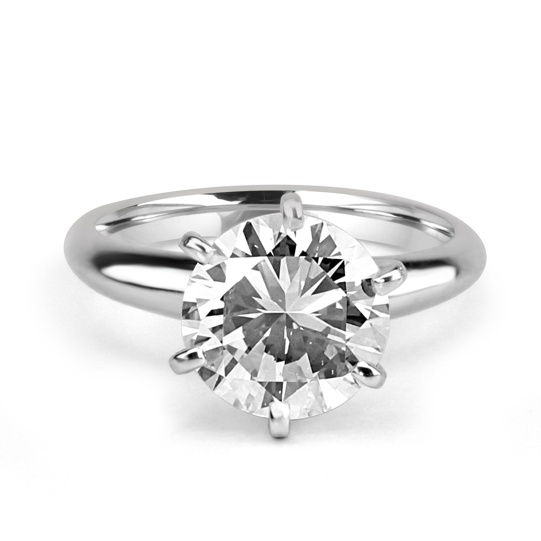 14k W/G Round-Cut Diamond Solitaire Engagement Ring