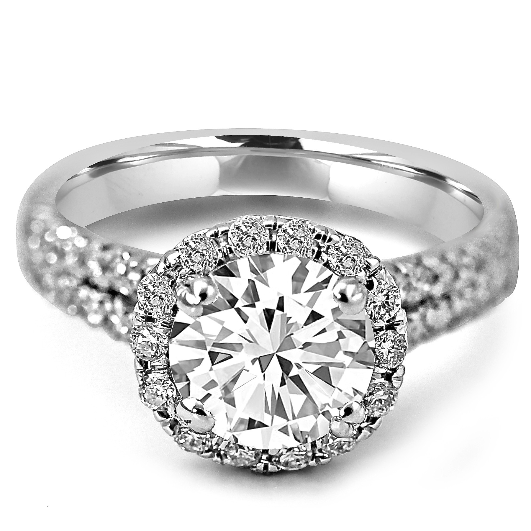 18K W/G Round-Cut Halo Diamond Engagement Ring Split Shank