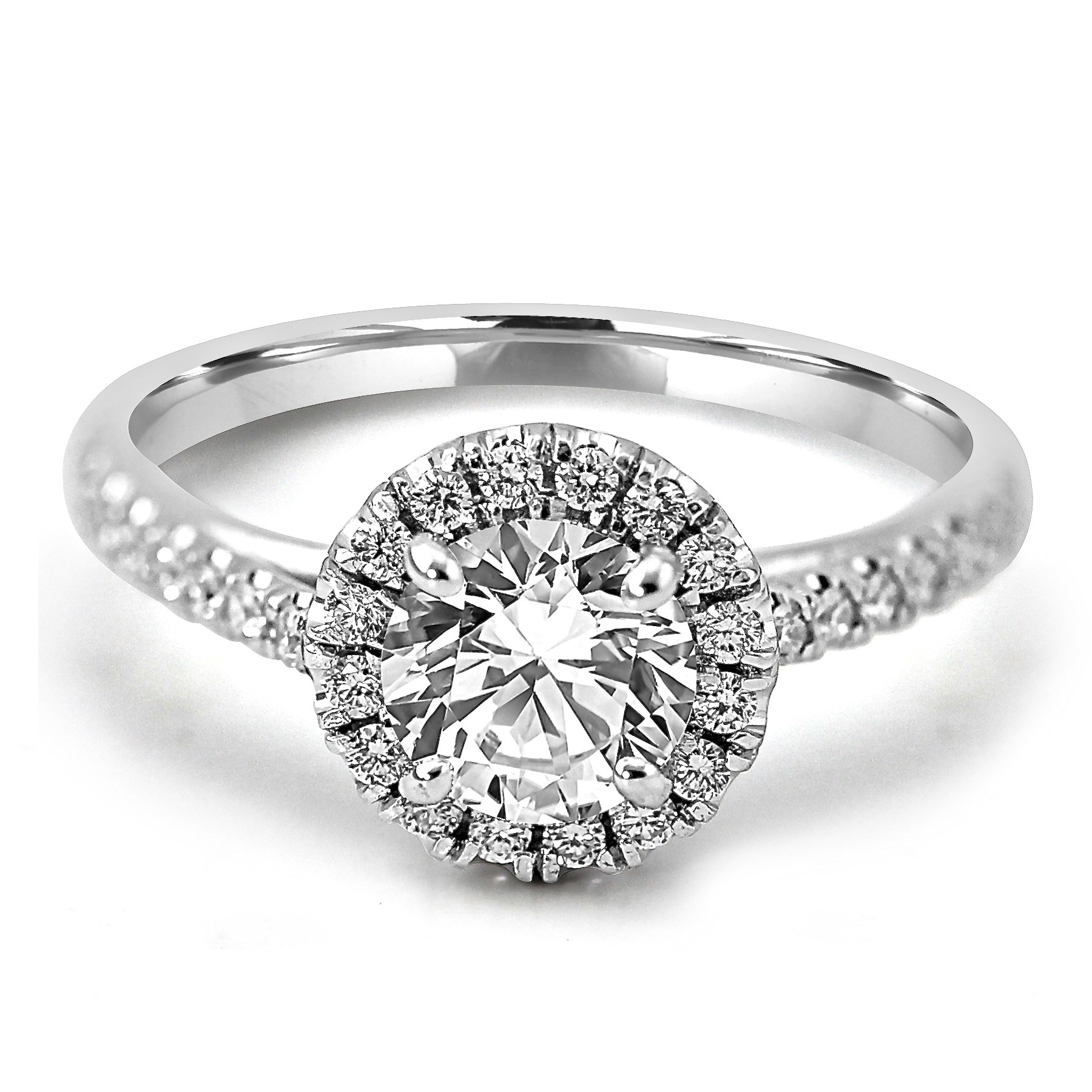 product ring cushion rings diamonds engagement round in shaped diamond shank with platinum pave triple halo uneek and