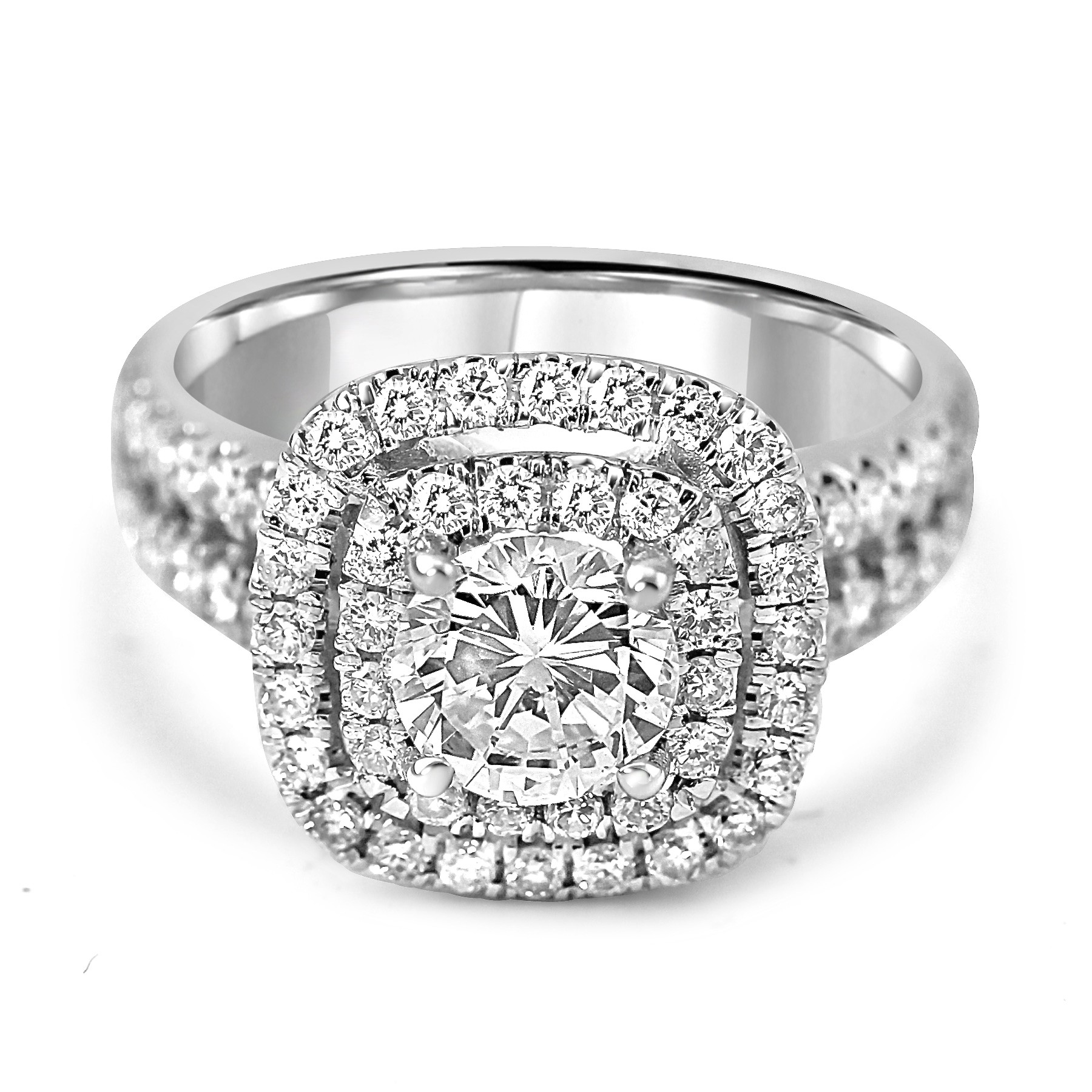 14k W/G Round-Cut Diamond Double Cushion Halo Engagement Ring Split Shank
