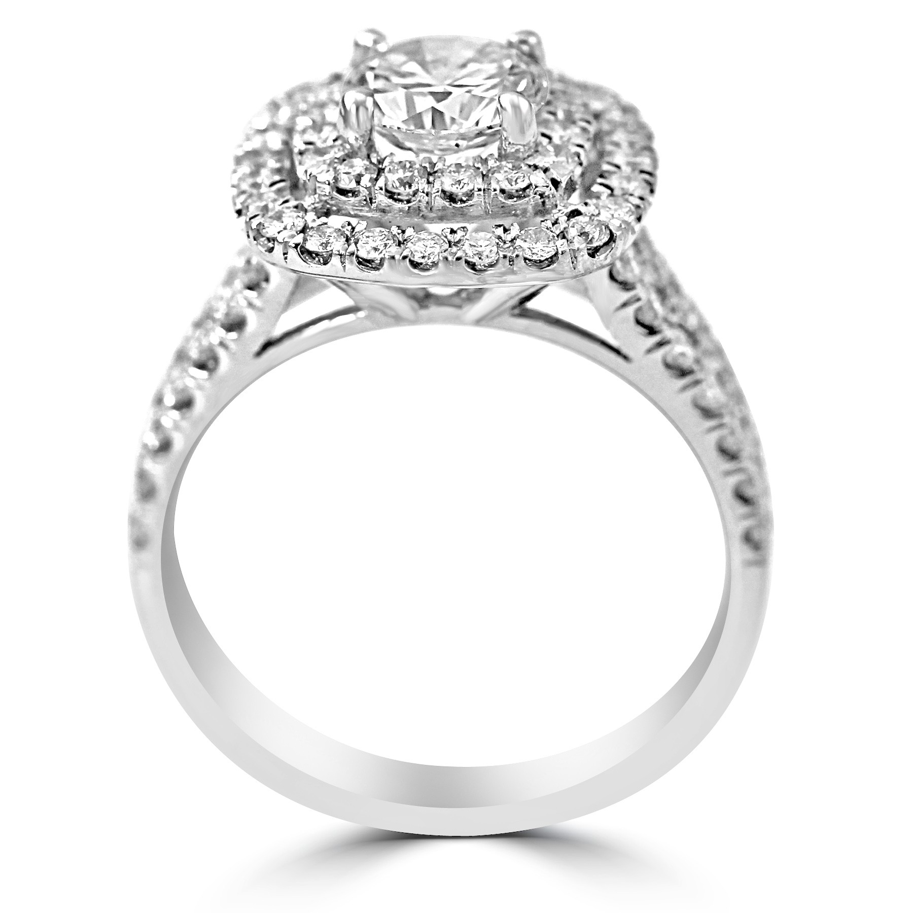 f888a7c367b84 14k W/G Round-Cut Diamond Double Cushion Halo Engagement Ring Split Shank