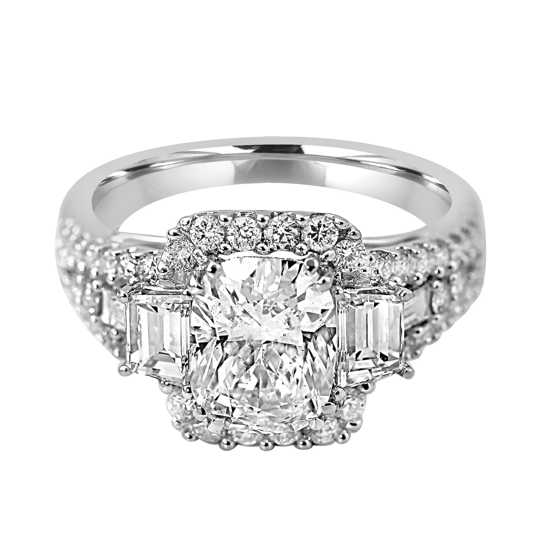 engagement bold side tapered rings round diamond ring wedding baguette sylvie center