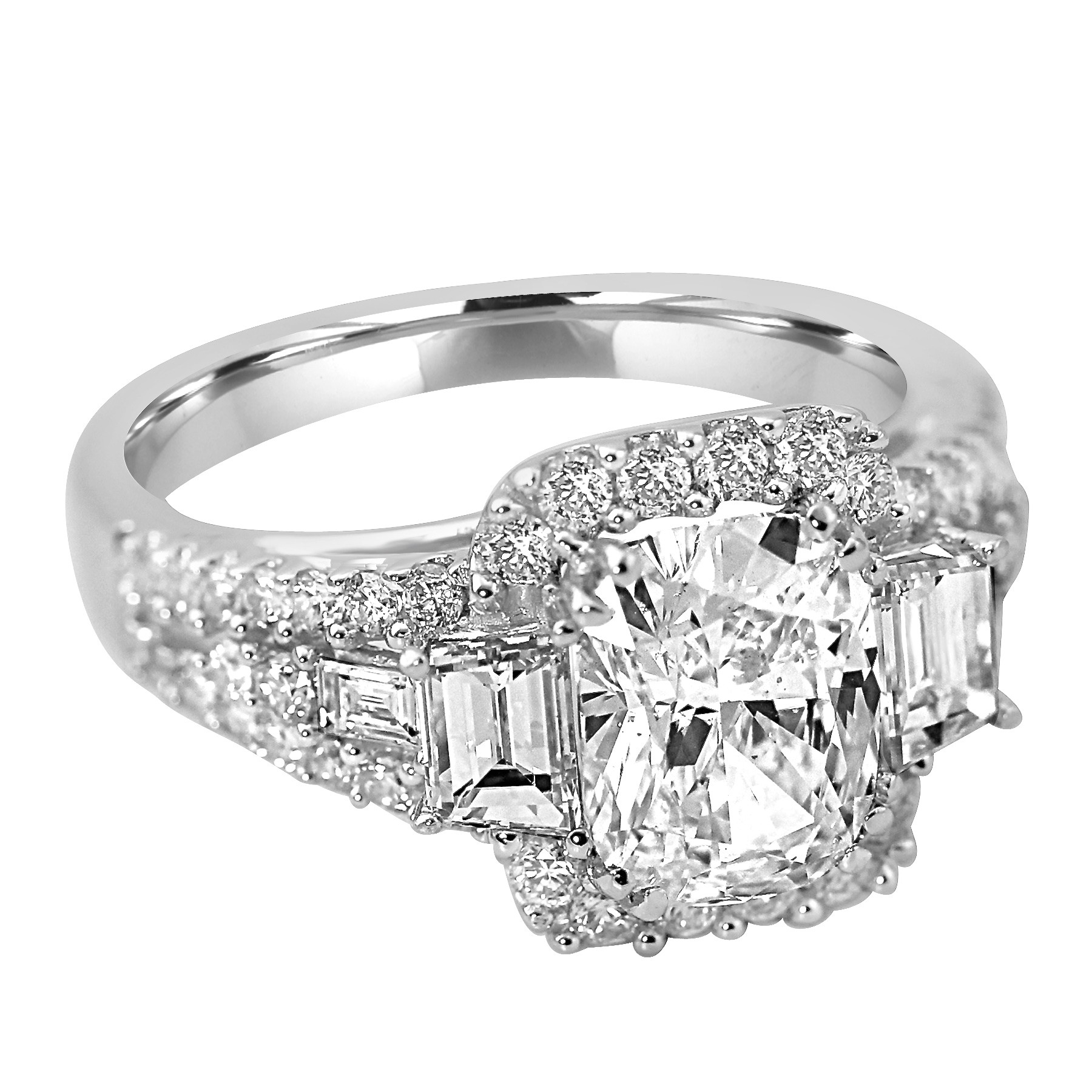 stone cut single diamond cushion bishop ring certificated winsor cusion platinum