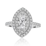 18k w/g marquise cut double halo diamond engagement ring 1.31ctw