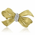 18K Y/G Diamond Bow Booch Pin