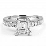 18K W/G Emerald-Cut Diamond Engagement Ring