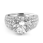 18K W/G Round Brilliant-Cut Diamond Pave Setting Engagement Ring