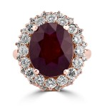 18K R/G Oval-Cut Ruby and Diamond Cocktail Ring