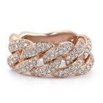 14K r/G CUBAN LINK DIAMOND FASHION RING