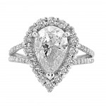 18K W/G Pear-Cut Diamond Halo Engagement Ring Split Shank