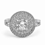 18K W/G Round-Cut Diamond Triple Halo Split Shank Engagement Ring