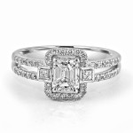 18K W/G Emerald-Cut Diamond Halo Engagement Ring Split Shank