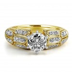 18K Y/G Round-Cut Diamond Milgrain Engagement Ring